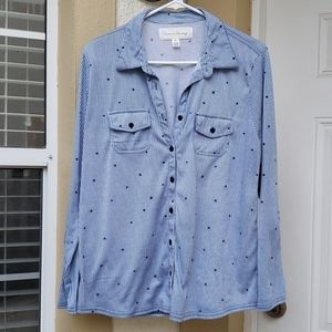 French Laundry Blue And White With Blue Stars Top